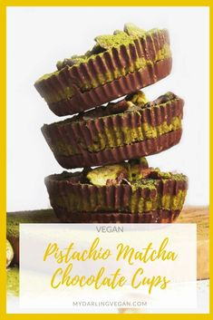 These vegan Pistachio Matcha Chocolate Cups combine rich dark  chocolate with salty pistachios and green matcha tea for a deliciously sweet snack. #mydarlingvegan #veganchocolatecups #veganpistachiomatcha #veganmatcharecipes #matcharecipes #vegandesserts #vegantreats #recipeswithpistachios Healthy Dessert Recipes, Candy Recipes, Vegan Desserts, Sweet Recipes, Eggless Desserts, Easter Desserts, Delicious Desserts, Vegan Recipes, Snack Recipes