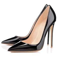 Black High Heels, High Heel Pumps, Women's Pumps, Stiletto Shoes, Shoes Heels, Fashion Heels, Punk Fashion, Sneaker Heels, Patent Leather Pumps