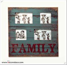 Portafotos de madera retro family - WWW.DECORATECA.COM