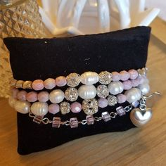 Items similar to Fresh water pearls pink faceted Beads rosary chain and silver heart charms on Etsy Stackable Bracelets, Beaded Bracelets, Handmade Necklaces, Handmade Gifts, Water Pearls, Jewelry Design, Unique Jewelry, Faceted Crystal, Bracelet Set