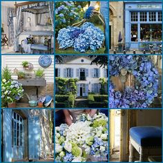 Color: French Blue i painted a wonderful old dresser this color, i love it! what is it about French Blue that is so magical? - Dream Homes Today French Country Bedrooms, French Country House, French Decor, French Country Decorating, Collages, Color Collage, Beautiful Collage, Country Blue, All Nature