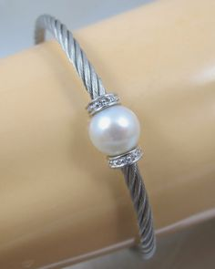 Sterling Diamond Pearl Stainless Cable Bracelet Savvy Cie by TonettesTreasures, $69.99