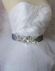 Crystal Rhinestone Bridal Sash Black Organza by TheRedMagnolia, $80.00