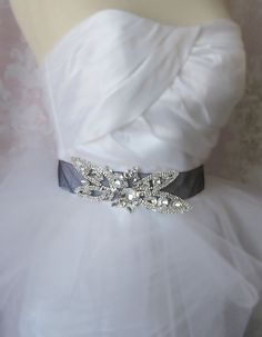 Crystal Rhinestone Bridal Sash Black Organza by TheRedMagnolia, $80.00