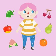 Animal crossing is taking over my life 🙃🙃🙃  •  •  •  #animalcrossing #pocketcamp #illustration #graphic #design #illustrator #print #fruit #character #game #procreate #instaart