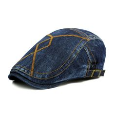 a3f3b4d14be Men s Newsboy Denim Vintage Irish Ivy Cabbie Driving Caps Hats - Darkblue -  C312O5LTGOR