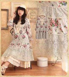 Belle-Robe-a-fleurs-fond-ivoire-bleute-Dentelle-Japon-Mori-girls-Forest-girls-TU