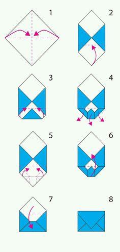 folding origami envelope, the steps for constit . - Informations About folding origami en Envelope Diy, Envelope Origami, Origami Letter, How To Make An Envelope, How To Make Envelopes, Diy Envelope Tutorial, Making Envelopes, Fold Paper Into Envelope, Heart Envelope