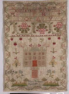 Sampler Date: 18th century Culture: British Medium: Wool and silk on wool canvas Dimensions: H. 17 7/8 x W. 12 5/8 inches (45.4 x 32.1 cm) Classification: Textiles-Embroidered Credit Line: From the Collection of Mrs. Lathrop Colgate Harper, Bequest of Mabel Herbert Harper, 1957 Accession Number: 57.122.574