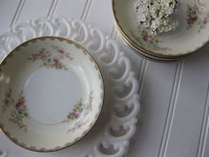 Vintage Meito Handpainted Floral Dessert Bowls Set by thechinagirl
