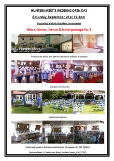 Hunters Meet @Comp_Entourage Wedding Fair 11-3 on Saturday 21st September 2013 Register for your chance to win: Dinner, dance and hotel package for 2 people at Hunters Meet  https://docs.google.com/spreadsheet/viewform?formkey=dGlfUmc4WTdhenU5VlZuekR3a24tRWc6MQ Contact: https://www.facebook.com/CompleteEntourageWeddingsandevents