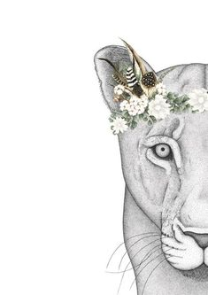 Linda the Lioness with Luxe Feather Crown Lion Face Drawing, Drawing Now, Watercolor Lion, Watercolor Images, Crown Painting, Flower Crown Drawing, Lion Flower, Colorful Butterfly Tattoo, Feather Crown