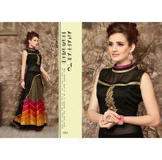 Monika Silk Mill Presents Black Designer Embroidered Dress Material