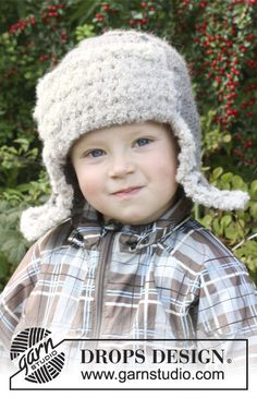 """DROPS hat with ear cover, in """"Andes"""", crochet edge and flap in """"Alpaca Boucle"""". Size: 3 to 12 years ~ DROPS Design"""