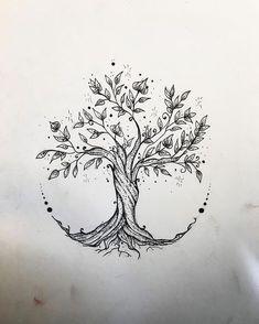 - Tree Tattoo - Gefällt 60 Mal, 3 Kommentare - Elisa Treg ॐ Tattoo ( Tree Tattoo - 60 Times, 3 Comments - Elisa Treg Tattoo ( o. Flower Tattoo Drawings, Small Flower Tattoos, Tattoo Sketches, Drawing Tattoos, Art Sketches, Drawing Drawing, Small Tattoo, Small Tree Tattoos, Drawing Tips