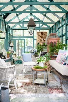 Chic she shed garden retreat with luxurious interior in backyard by Susanne Hudson. Come explore She Shed Chic, Potting Shed & Backyard Inspiration. Outdoor Rooms, Outdoor Living, Outdoor Furniture Sets, Outdoor Decor, Wicker Furniture, Garden Furniture, Furniture Ideas, Reclaimed Windows, Backyard Office