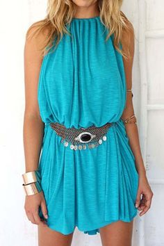 Blue Spaghetti Strap Loose-Fitting Dress