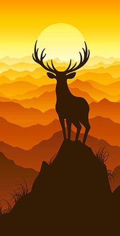 Deer Buck on top of Mountain with sunset Light Weight Regulation Size Custom Cornhole Board Game Set - Corn Hole - Bag Toss Deer Wallpaper, Scenery Wallpaper, Landscape Illustration, Illustration Art, Silhouette Art, Amazing Art, Vector Art, Watercolor Paintings, Art Drawings