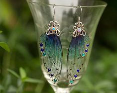 Sugar Plum Fairy Wing Silver earrings by fairystitchfactory