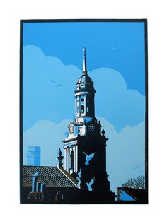 """St Alfege Church, Greenwich"" linocut by Graham Spice. This print was created using two colours , black for the building and blue for the background of the sky. Linocut Prints, Art Prints, Graphic Prints, Lino Art, Black White Art, Art Themes, Screen Printing, Printing Press, Woodblock Print"