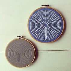 embroidered labyrinths  ***would be awesome gifts for friends as a meditation aid.  think about candle wicking too