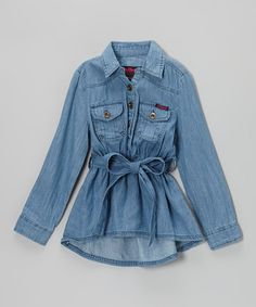 Take a look at this Dark Wash Chambray Long-Sleeve Button-Up Tunic - Girls by Dollhouse on #zulily today!