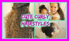 Cute Hairstyles for Curly Hair. Tutorial on 4 curly hairstyles for your curly hair. Perfect cute hairstyles for little girls with curly hair. Mixed Curly Hair, Short Natural Curly Hair, Curly Hair Styles Easy, Hot Hair Styles, Curly Afro, Afro Hair, Long Hair, Cute Quick Hairstyles, Cute Little Girl Hairstyles