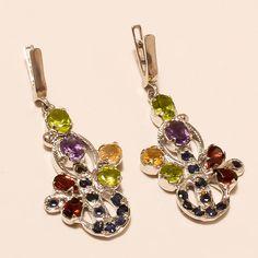 Russian Citrine Multi Gemstone Sterling Silver Earring Women Cocktail Jewelry AA #Handmade #Chandelier #EidGift