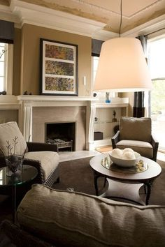 crown molding around bumped out fireplace wall -- contemporary family room by Sylvia Martin Fireplace Shelves, Fireplace Remodel, Fireplace Design, Fireplace Ideas, Fireplace Redo, Mantel Ideas, Foyer Ideas, Fireplace Surrounds, Family Room Colors