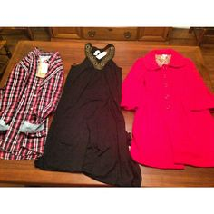 Plaid shirt / new maxi dress / red pea coat // 11-24-14 goodwill thrift haul