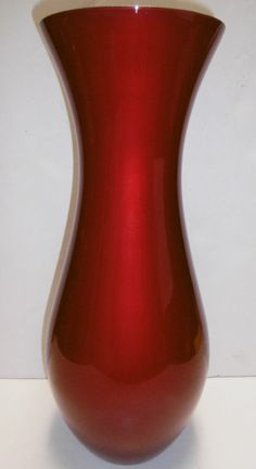 """CRATE & BARREL RED PLUSH VASE 16"""" HIGH x 7"""" LOWER x 5 1/2"""" MOUTH PLUSH RED SHINE #CrateBarrel #Contemporary"""