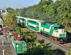 GO Transit (Greater Toronto Transit Authority) Railroad, EMD diesel-electric locomotive in Burlington, Ontario, Canada - nothing like our trains, they have double decks too. Travel Around The World, Around The Worlds, Go Transit, Burlington Ontario, Old Steam Train, Double Deck, Electric Train, Electric Locomotive, Train Journey