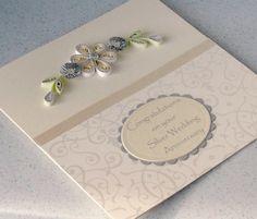 25th anniversary card, silver wedding congratulations, quilling card, handmade. £5.00, via Etsy.