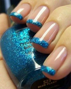 Blue sparkly French tip nails