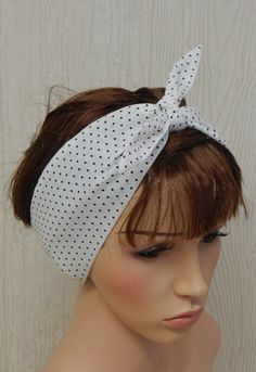 Rockabilly White and Black Dotted Retro by verycuteheadbands
