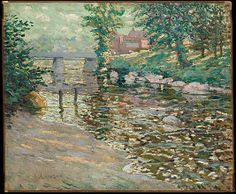 """The Bronx River,"" Ernest Lawson, ca. 1910, oil on canvas, 21 x 25"", The Metropolitan Museum of Art."