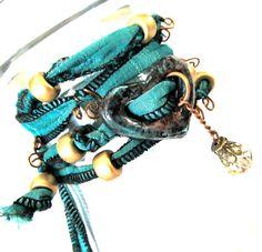 Sari Silk Ribbon Heart Charm Wrap Bracelet Copper by mmartiniuk