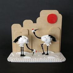 A beautiful pair of red-crowned cranes