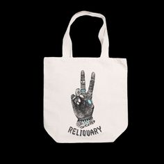 "RELIQUARY X TIPI THIEVES TOTE, 16.5""x17""x6"", 23""handles, double sided print, $20"