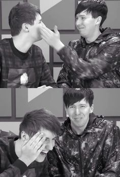 Amazingphil slapping danisnotonfire in the face on YouTubers React