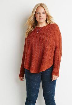 Plus Size Loose Knit Dolman Sweater