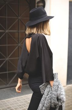 Sexy black open back top is perfect for day and night