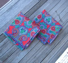 Pair of Amazing Purple Paisley Cloth Napkins  by MintysMercantile