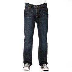 Great for weekend wear, these faded straight leg jeans have been designed for comfort and feature zip button closure, 5 pocket styling and distressed detail around the pockets.