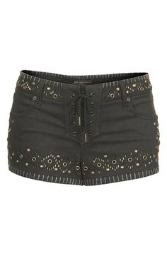 { Studded Denim Shorts }