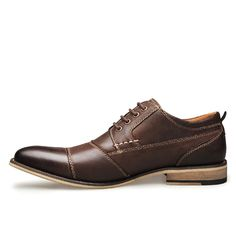 Business Dress Shoes Lace Up Ankle Casual Oxfords Shoes – GaGodeal Oxford Boots, Casual Oxford Shoes, Martin Shoes, Comfortable Mens Shoes, Leather Dress Shoes, Derby, Business Dresses, Luxury Shoes, Oxfords