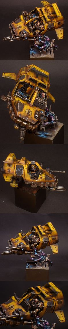 Space Marines : Imperial Fists - Exhibition of miniatures painted by other artists around the world Warhammer Empire, Warhammer 40k Art, Warhammer Models, Warhammer 40k Miniatures, Warhammer Fantasy, Warhammer Dark Angels, Minis, Figurine Warhammer, Imperial Fist