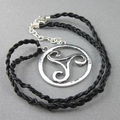 Celtic Triskele medallion pendant large silver leather braided cord | Thesingingbeader - Jewelry on ArtFire