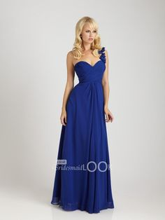 one-shoulder bridesmaid gown long royal chiffon evening gown