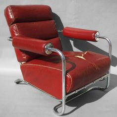Exceptional Machine Age Leather  and Chrome Lounge Chair  Gilbert Rohde for Troy Sunshade  American, 1930's No. 19 chair